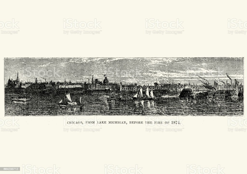 Chicago from Lake Michigan, before the fire of 1874 vector art illustration