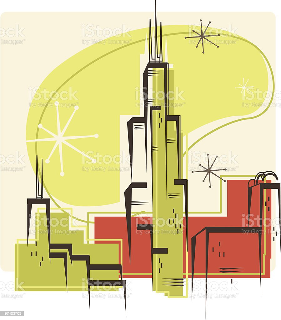Chicago Retro vector art illustration