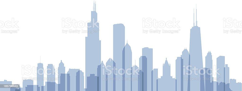 Chicago Skyline Silhouette vector art illustration