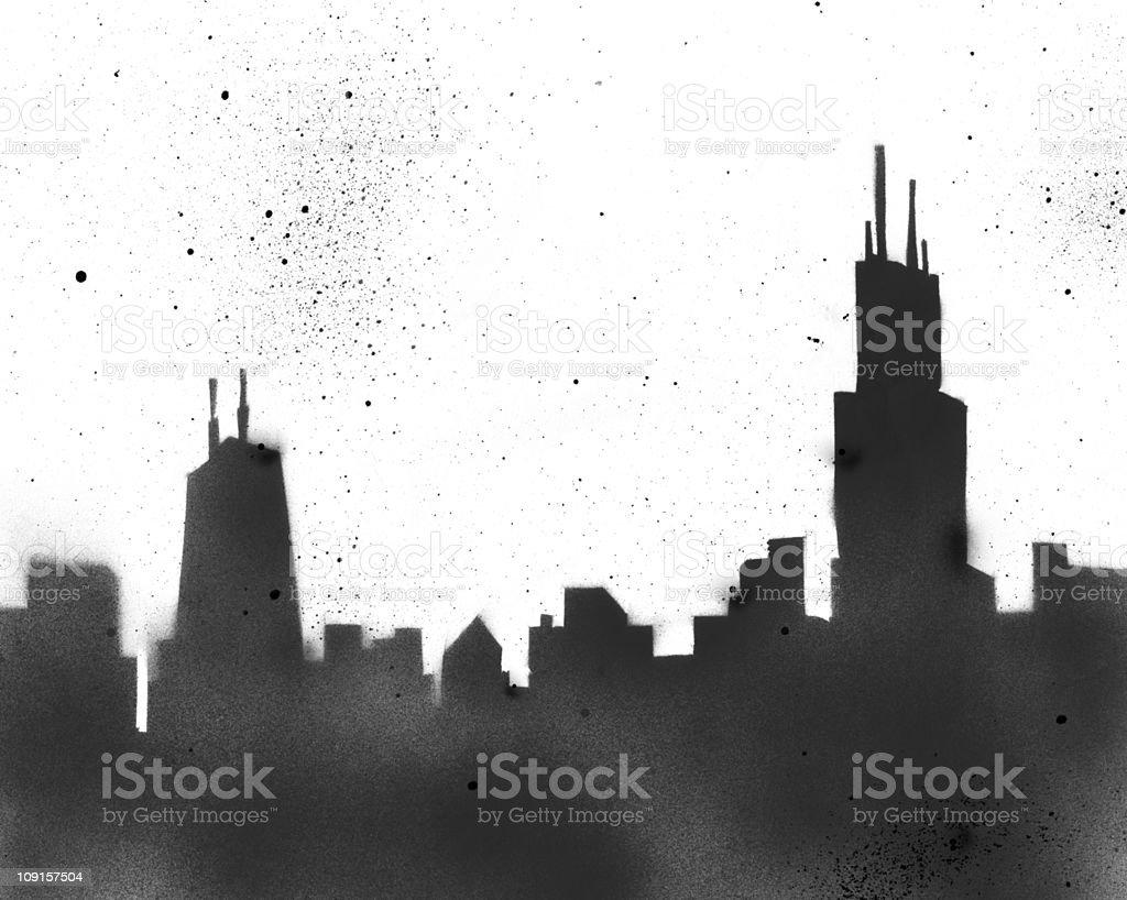 Chicago Stencil cityscape vector art illustration