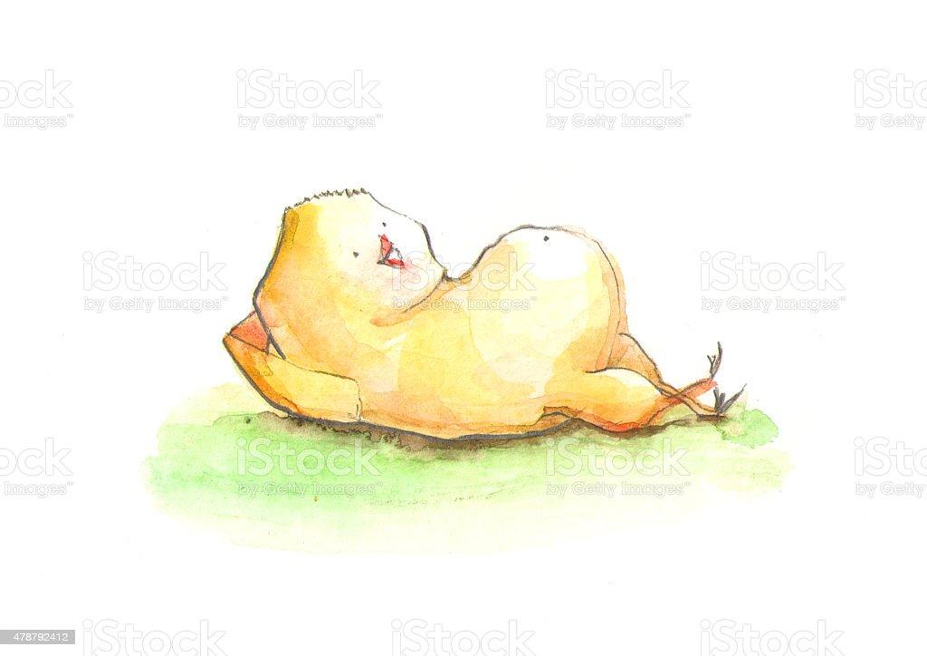 Chick resting vector art illustration