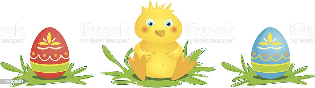 Chick with Eggs royalty-free stock vector art