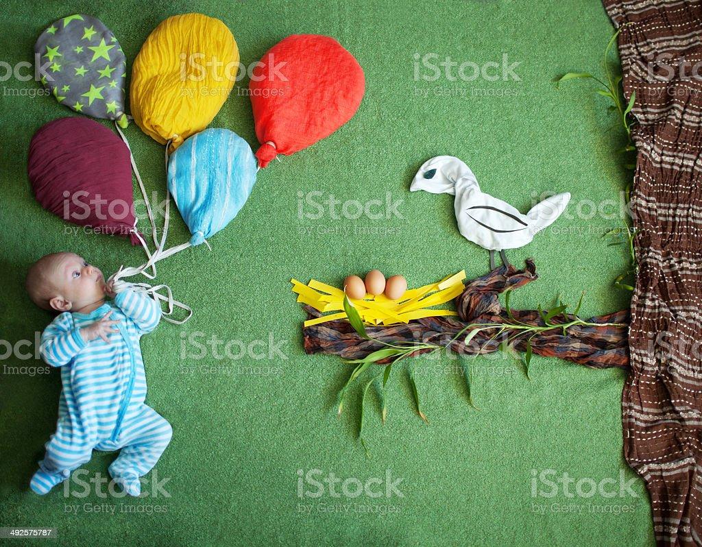 Child and a bird vector art illustration