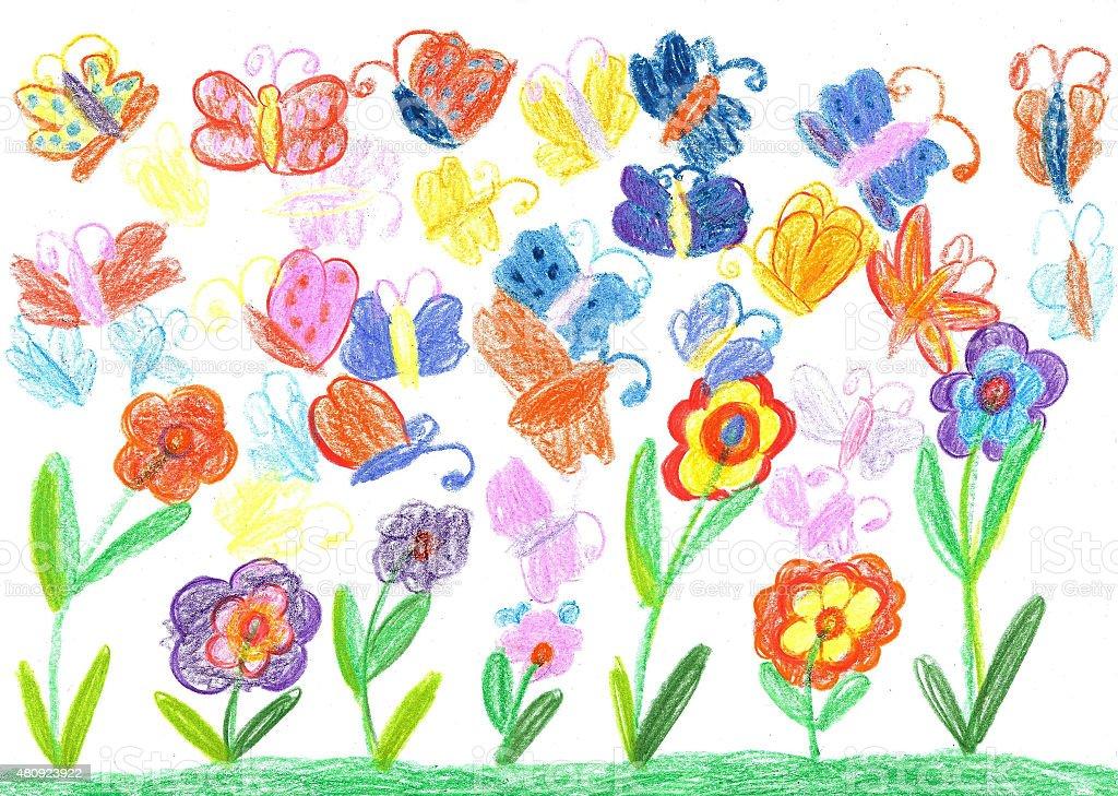 Figlio di disegno di farfalla e fiori natura illustrazione royalty-free