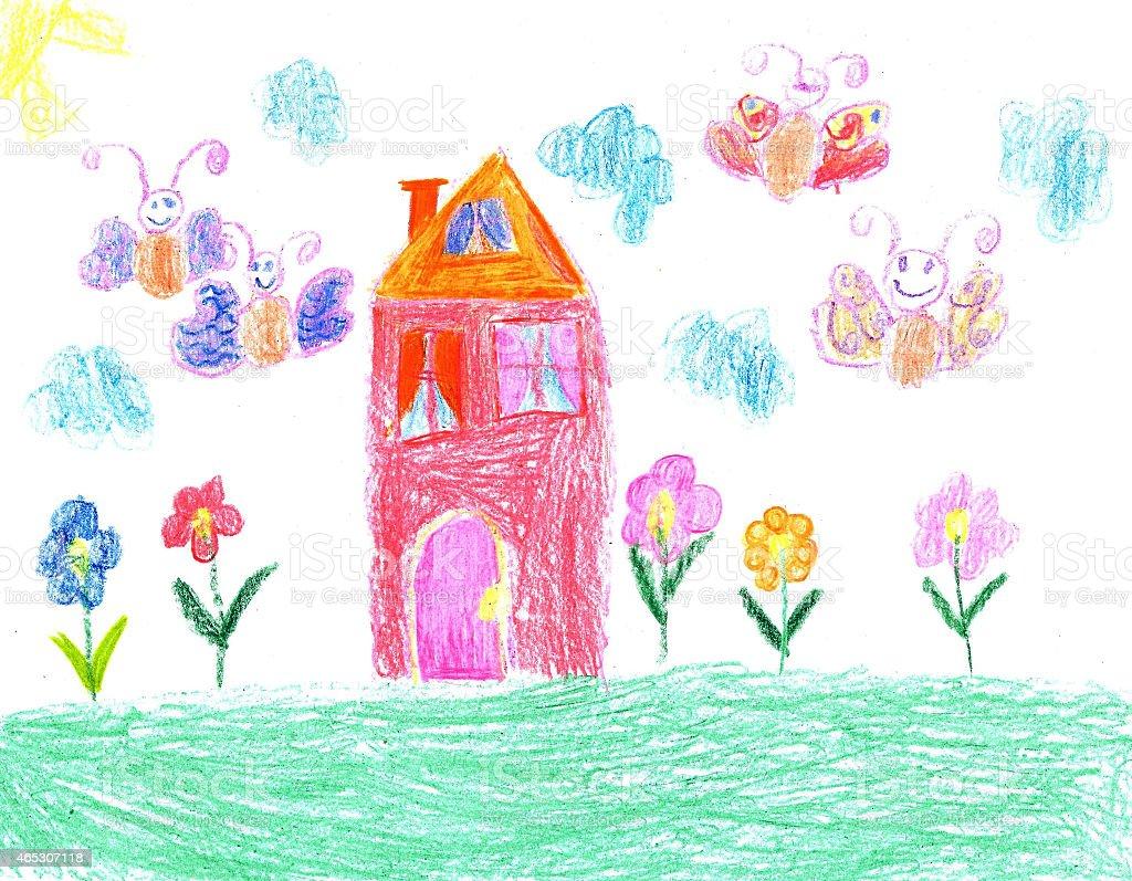 Figlio di disegno di una casa illustrazione royalty-free