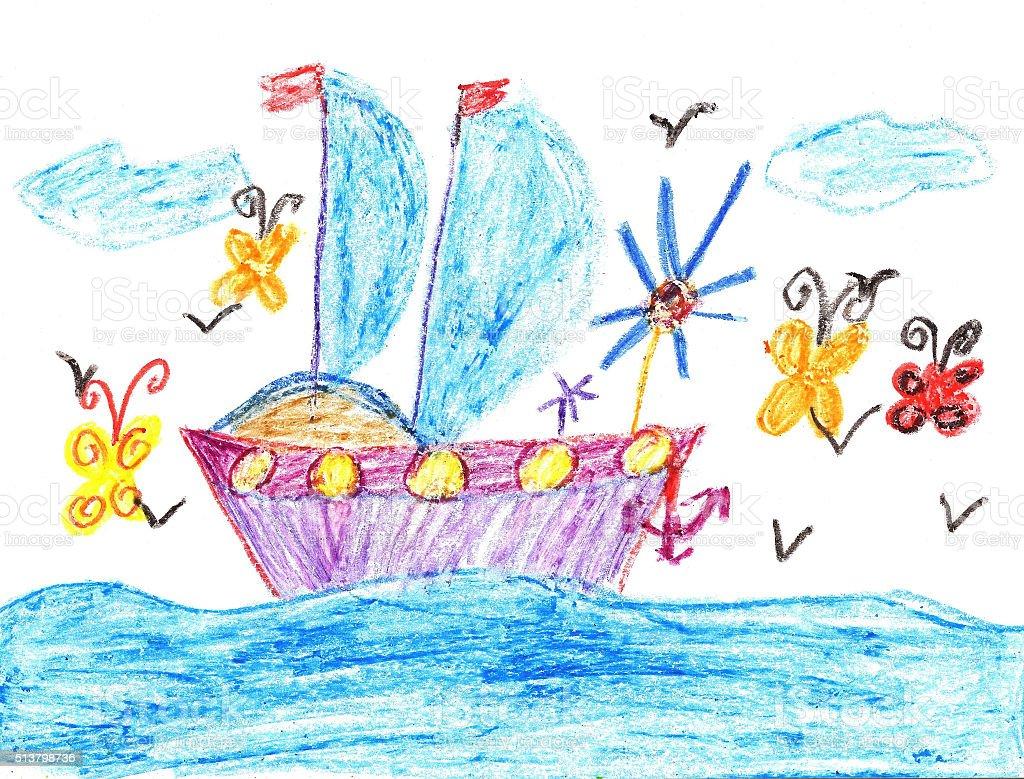 Bambino disegnare nave in mare illustrazione royalty-free