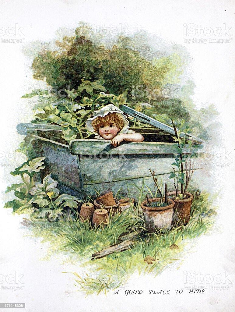 Child Hiding Illustration vector art illustration