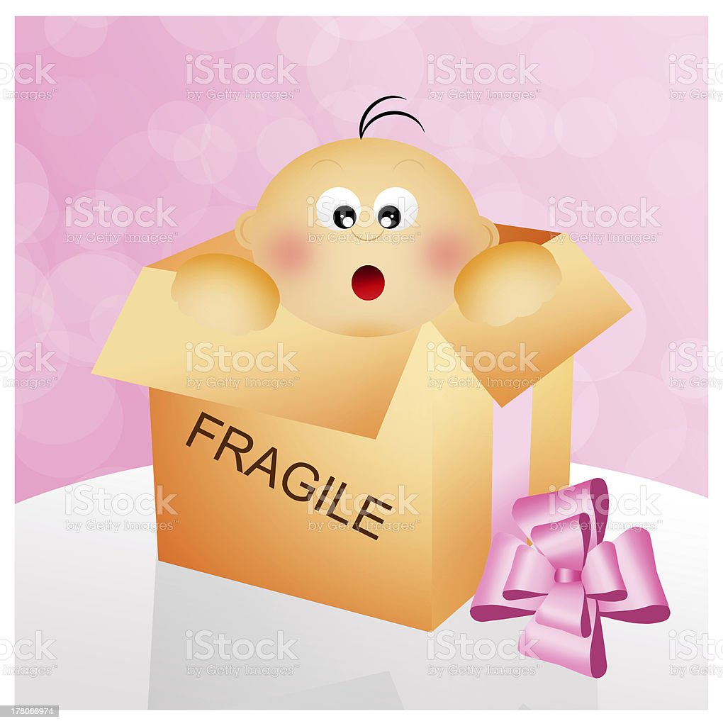 child in a gift box vector art illustration