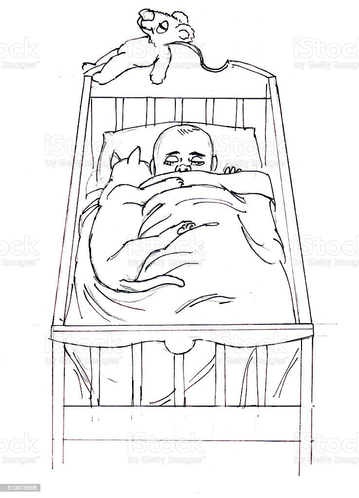 Kind im Kinderbett Lizenzfreies vektor illustration