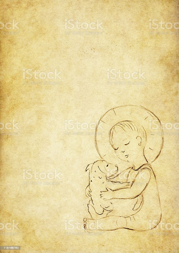 Child Jesus with a sheep - vintage drawing royalty-free stock vector art