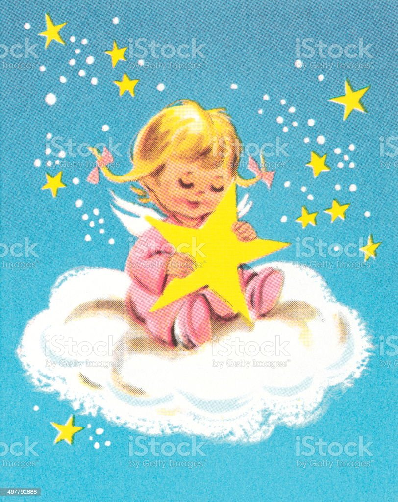 Child on cloud with star vector art illustration