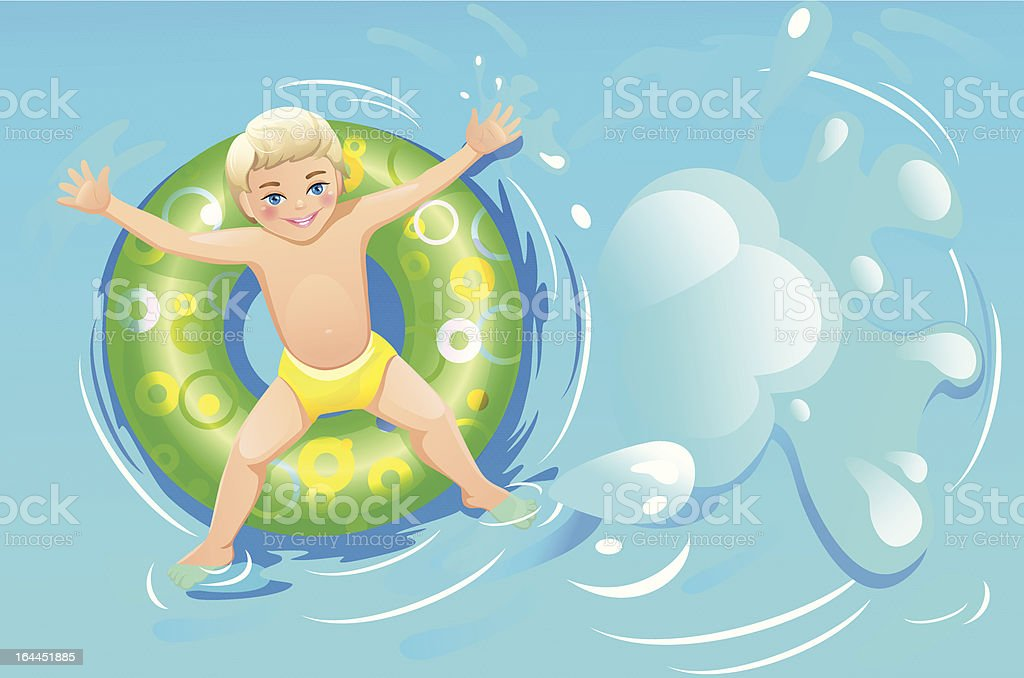 Child on inflatable ring in swimming pool vector art illustration