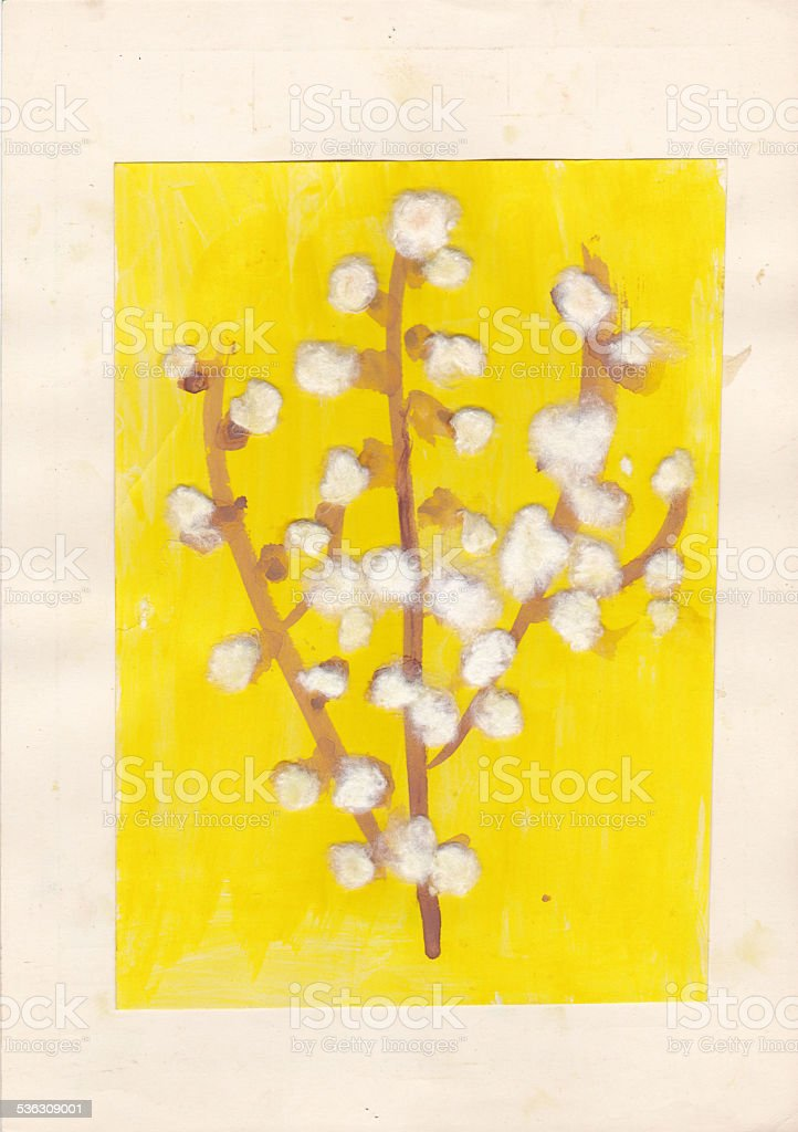 Child picture of blossoms of goat willow vector art illustration