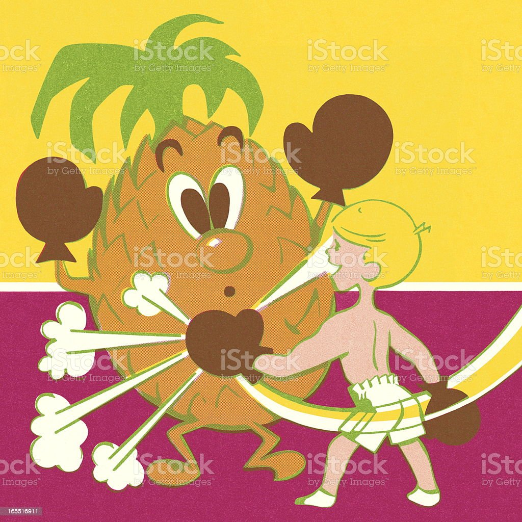 Child Punching a Pineapple royalty-free stock vector art