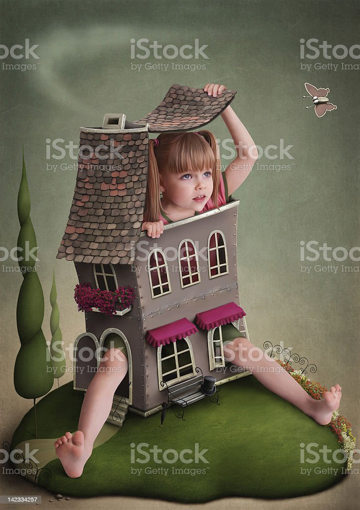 A child recreating Alice in wonderland with a doll house royalty-free stock vector art