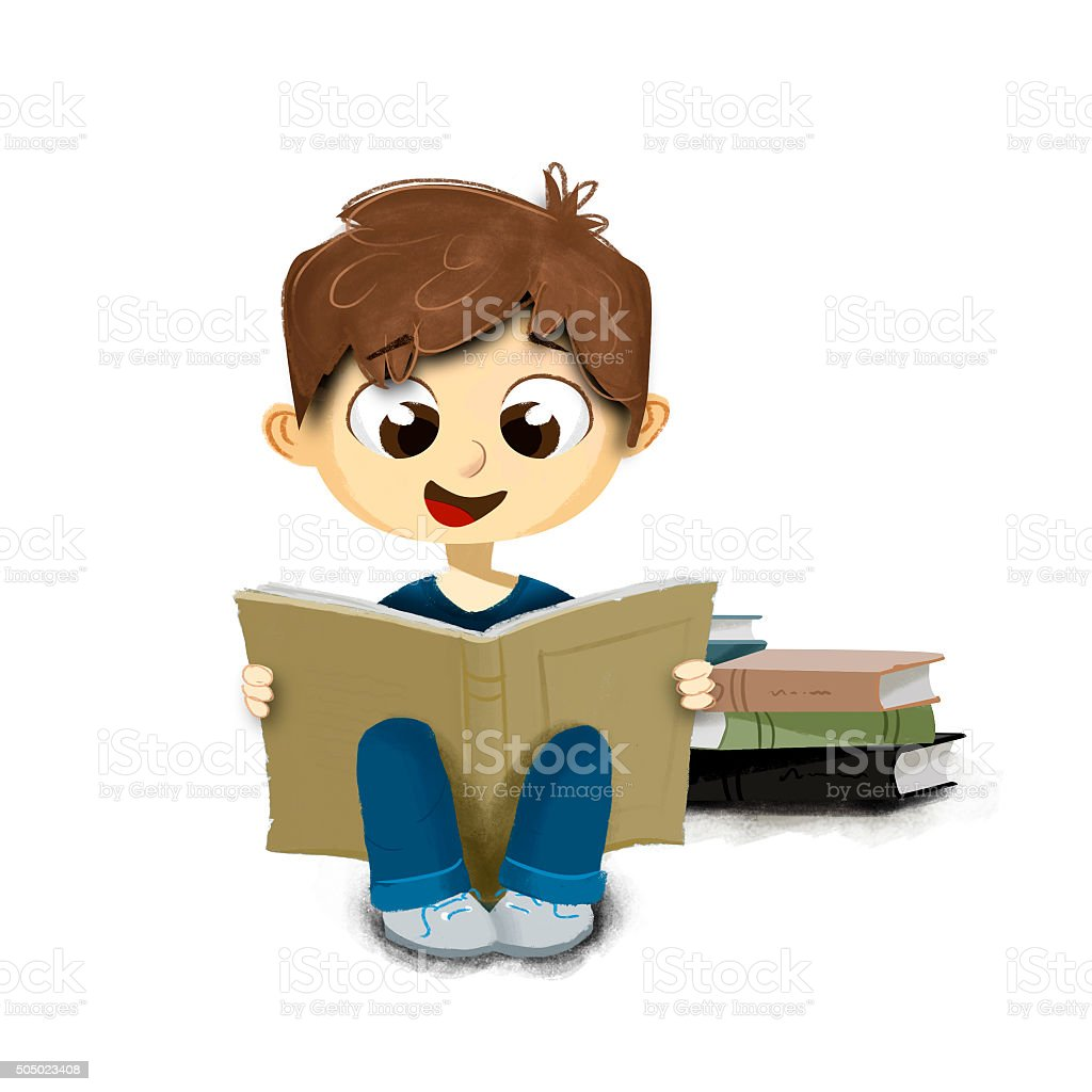 Child sitting on the floor reading book with white background vector art illustration