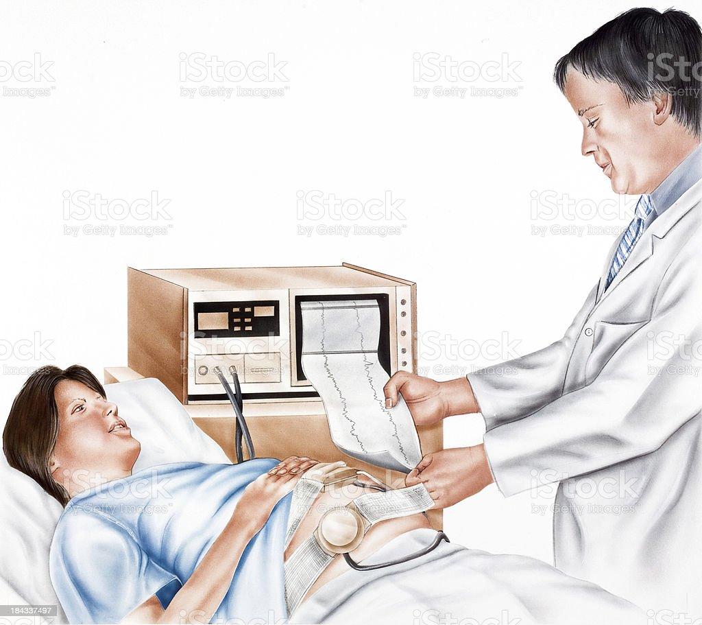 childbirth - Fetal Monitoring vector art illustration