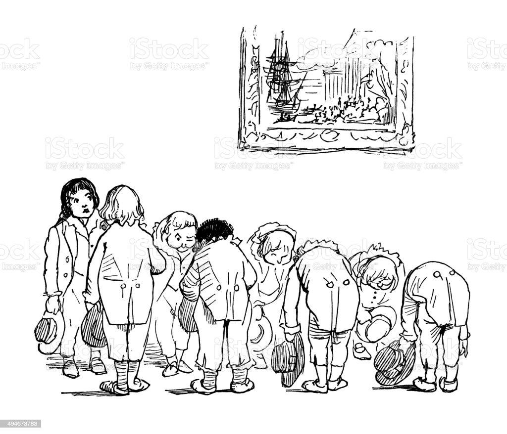 Children bowing vector art illustration