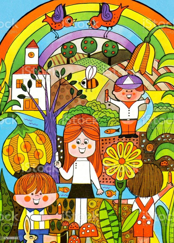 Children Coloring Landscape vector art illustration