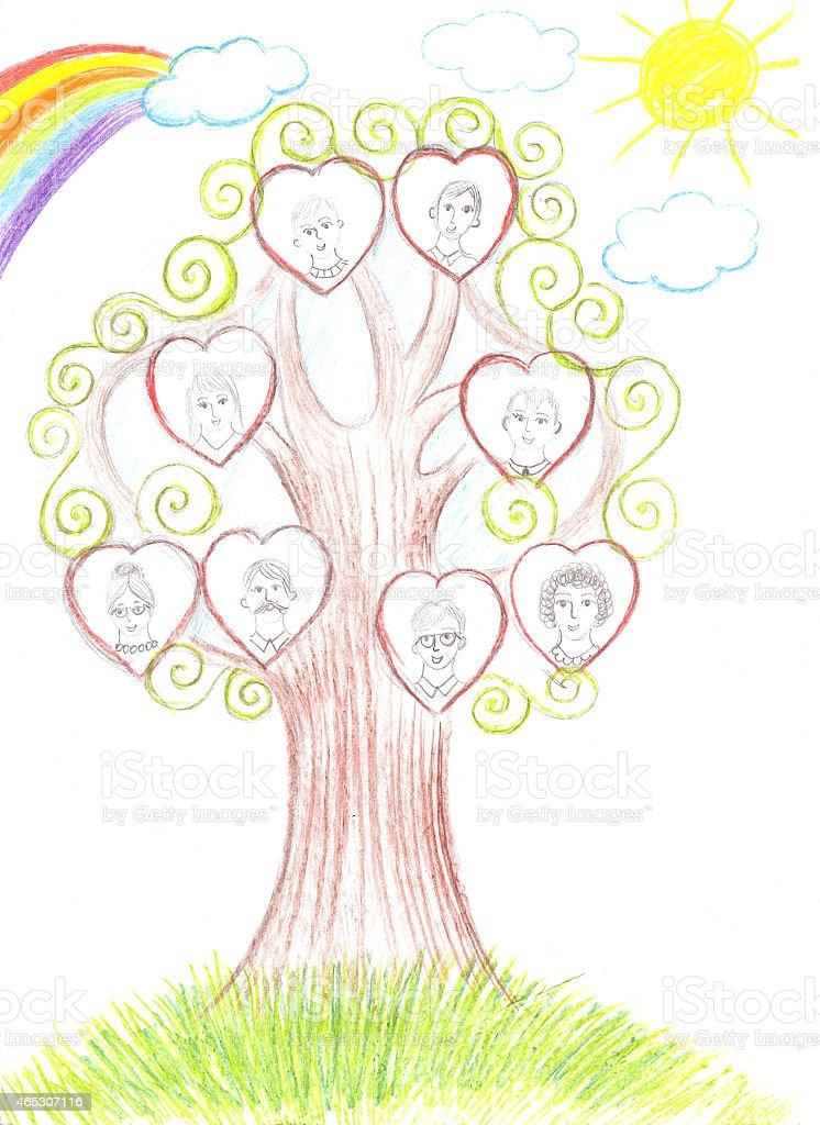 Bambini disegno famiglia genealogical albero illustrazione royalty-free