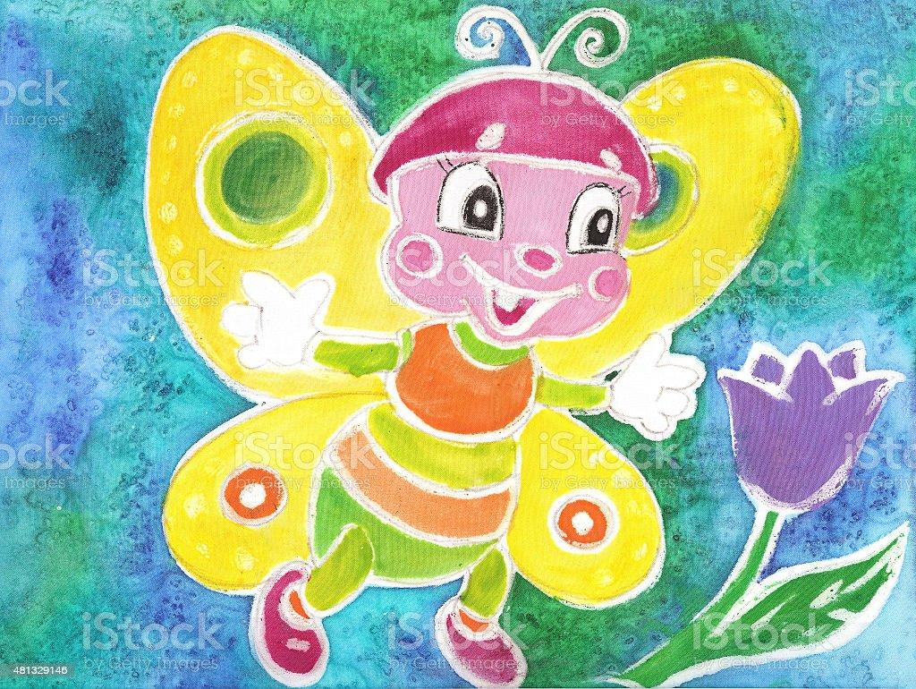 Bambini disegno ad acquerello divertente farfalla Batik illustrazione royalty-free