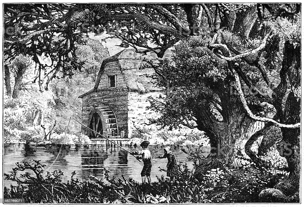 Children fishing near a water mill royalty-free stock vector art