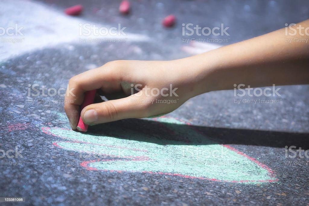 Children Hand Drawing Picture with Sidewalk Chalk vector art illustration