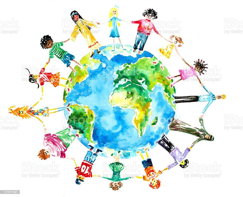 Children holding hands around the globe vector art illustration
