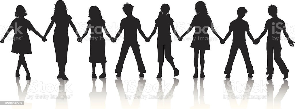 Children holding hands vector art illustration