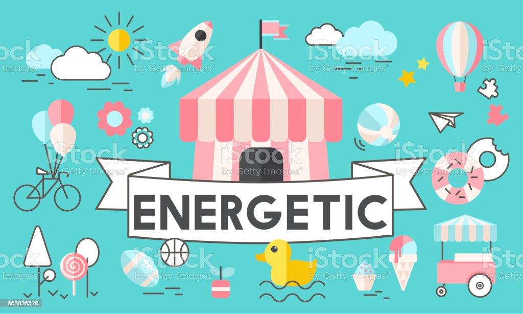 Children Kids Energetic Youth Playful Concept vector art illustration