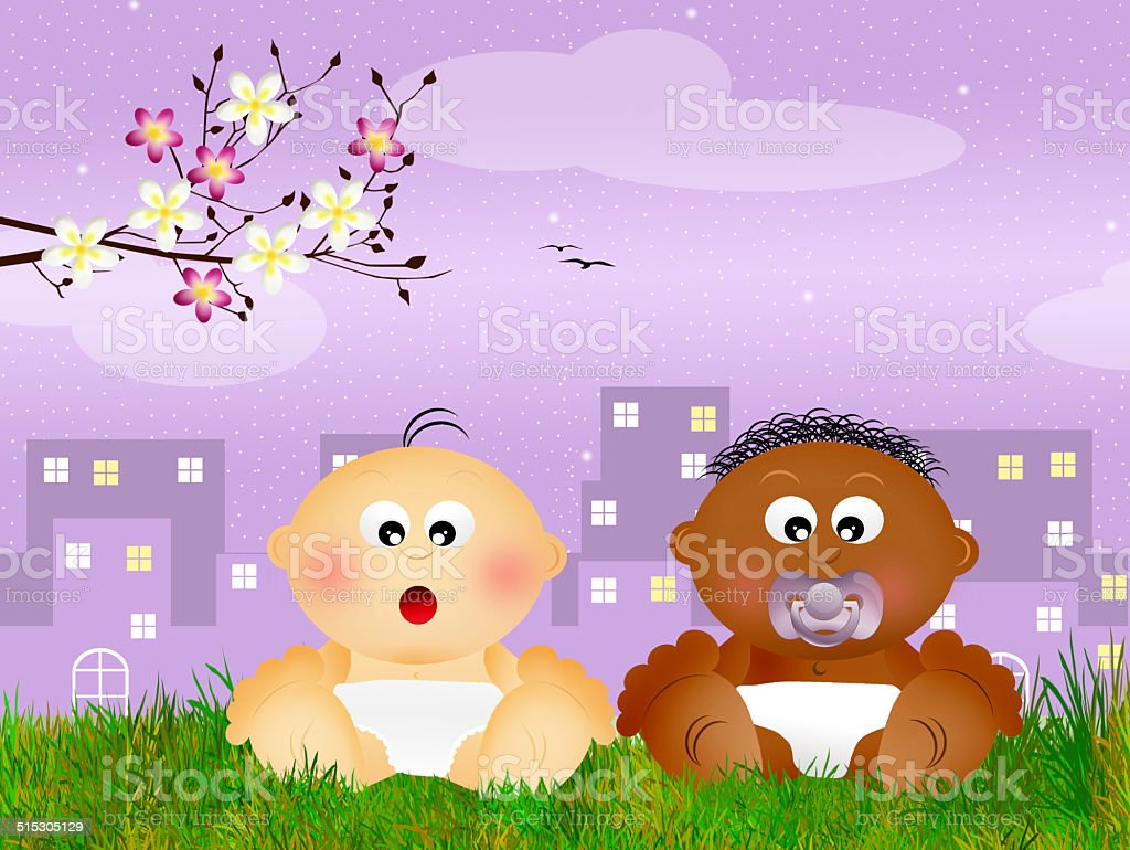 children of different races vector art illustration