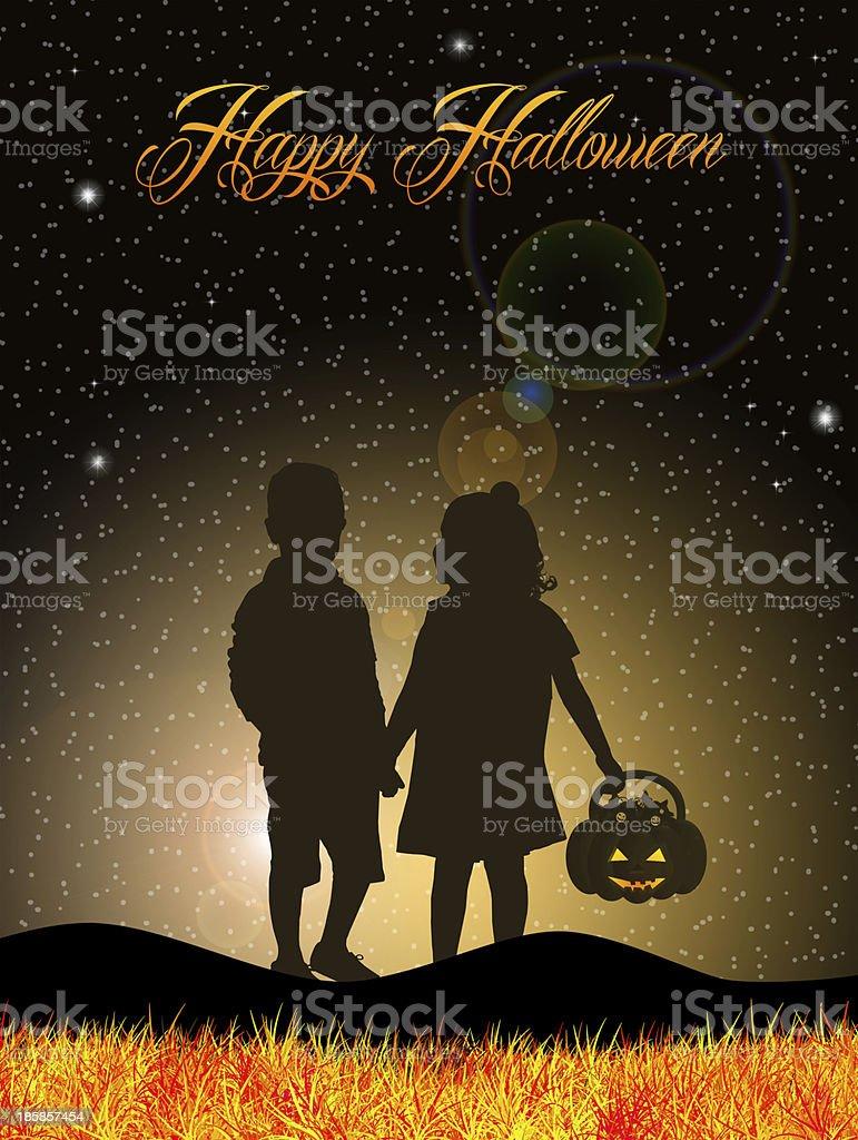 Children on Halloween royalty-free stock vector art