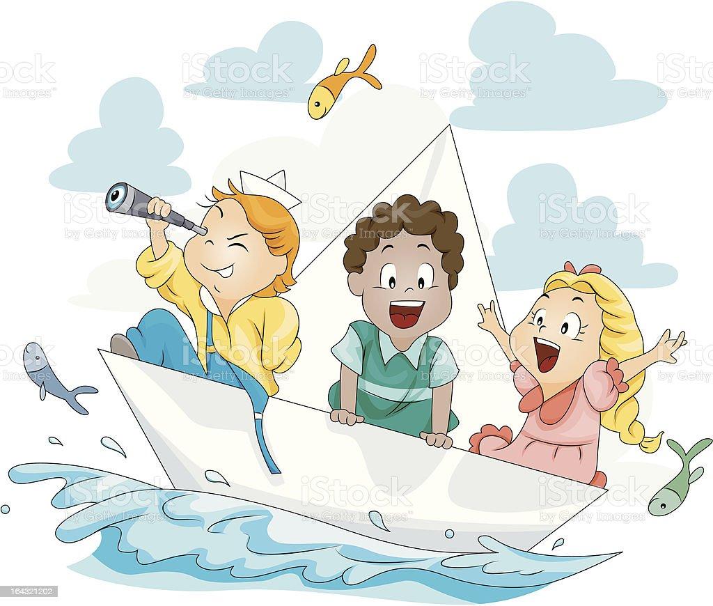 как нарисовать детей в лодке