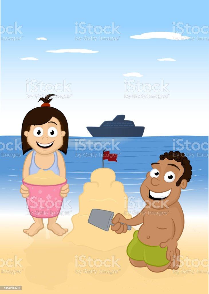 Children On The Beach vector art illustration