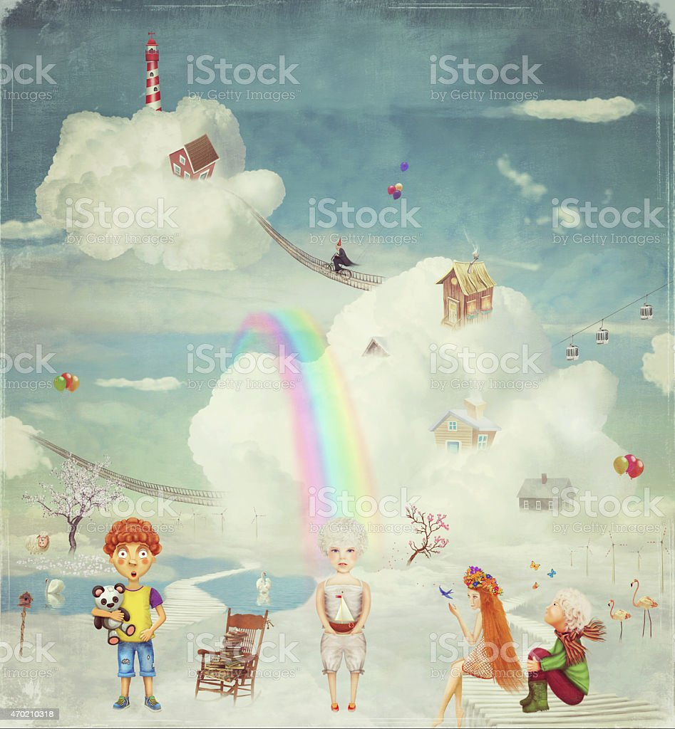 Children on the fantastic planet in the sky vector art illustration