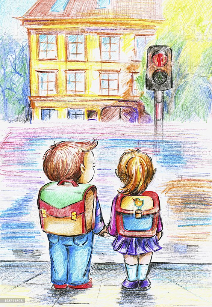 Children on traffic light. royalty-free stock vector art