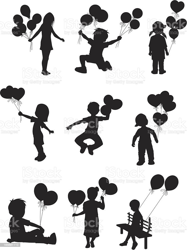 Children playing with balloons vector art illustration
