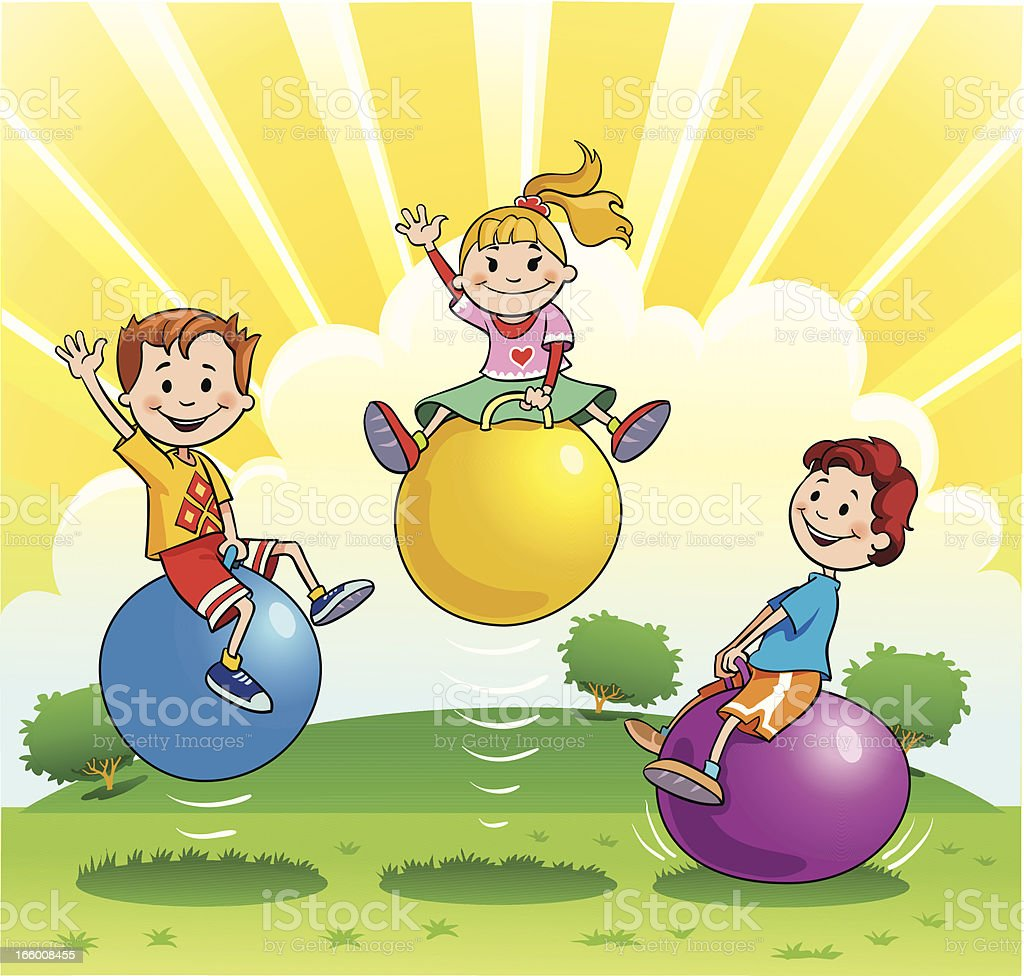 Children Playing with Bouncing Balls royalty-free stock vector art
