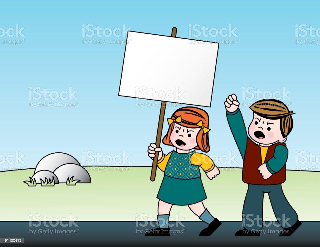 Children Protesting royalty-free stock vector art