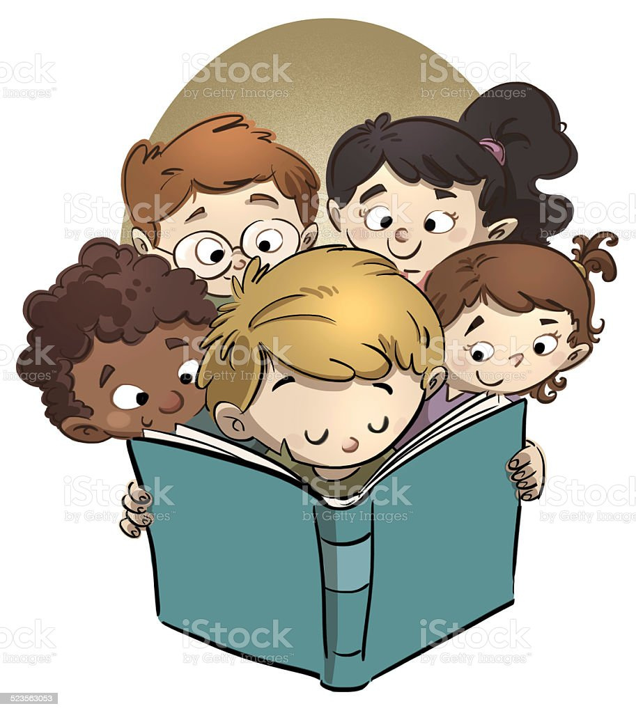 children reading a book vector art illustration