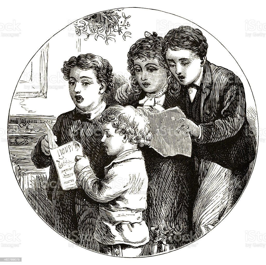 Children singing Christmas carols vector art illustration