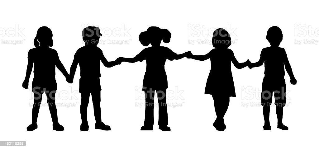 children standing silhouettes set 8 vector art illustration