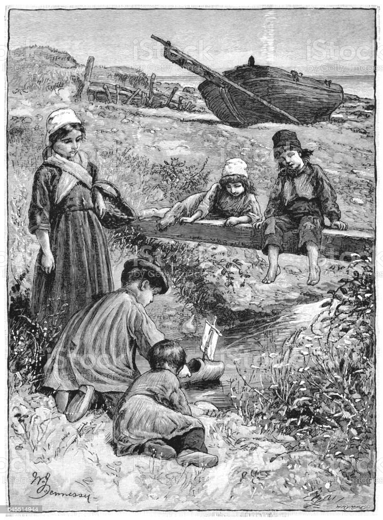 Children using a clog as a boat (Victorian engraving) vector art illustration