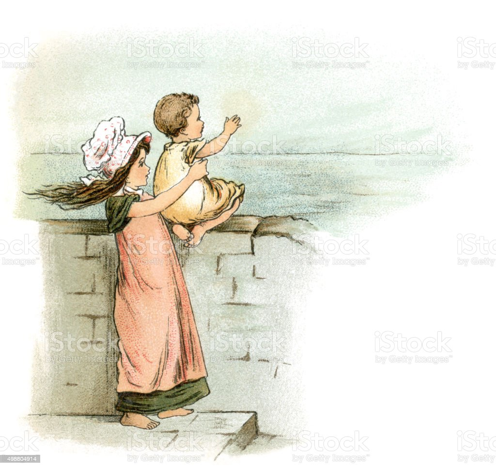 Children waiting for their father's return home from the sea vector art illustration