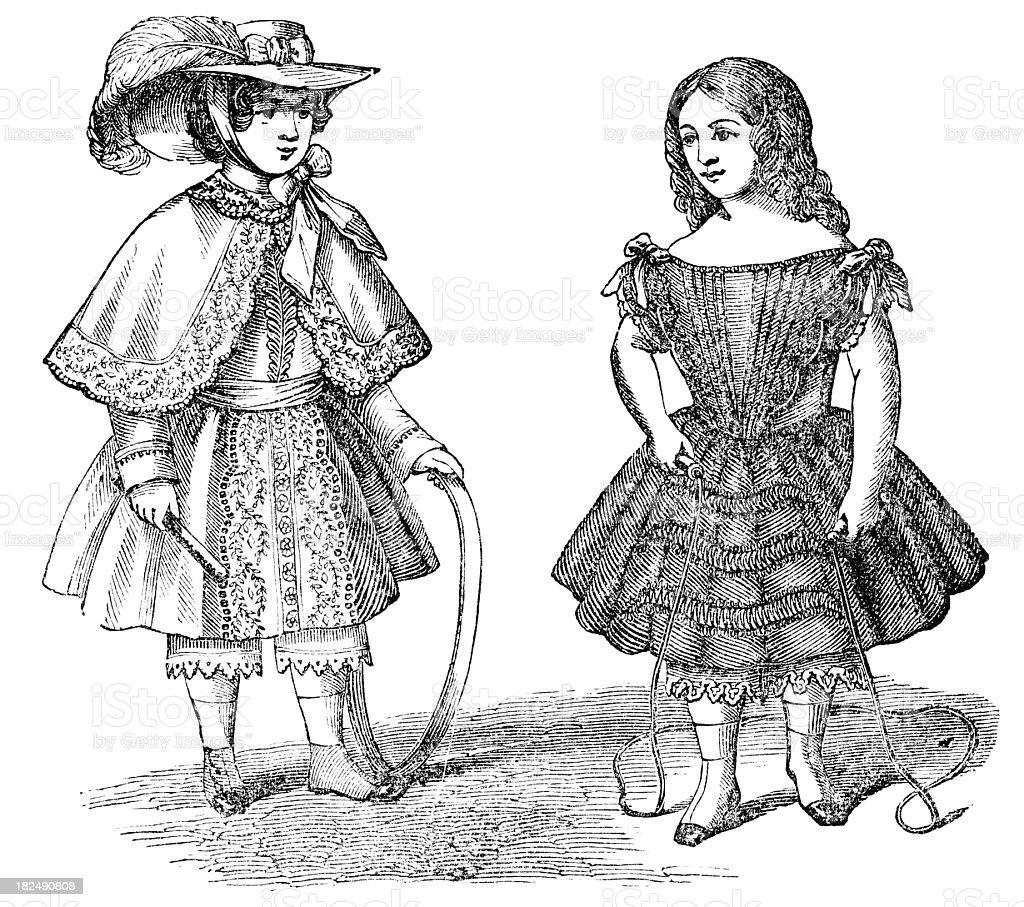 children's dress 1850 engraving vector art illustration
