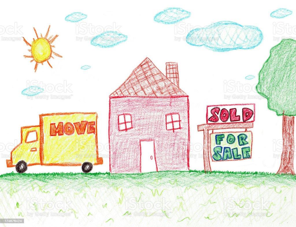children's hand drawing of sold real estate vector art illustration