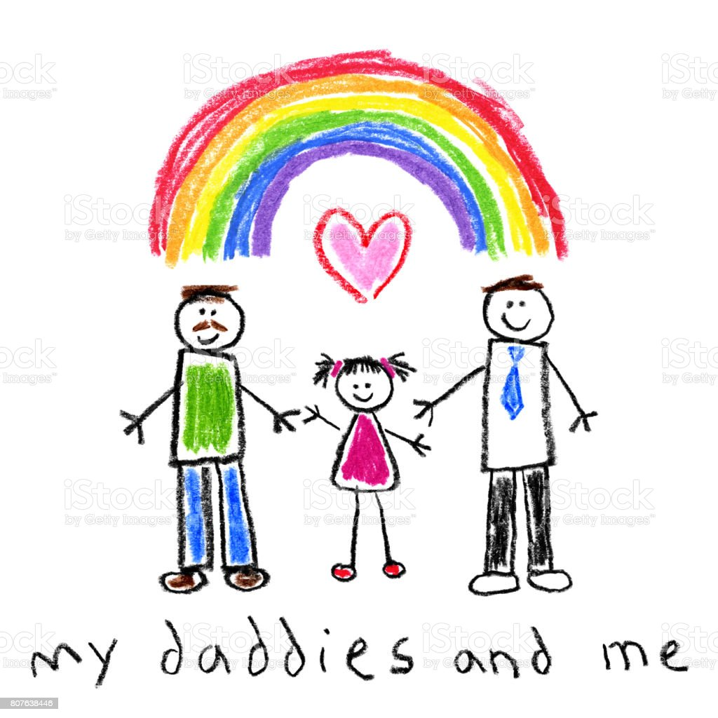 Children's Style Drawing - Fathers and Daugther Gay Family vector art illustration