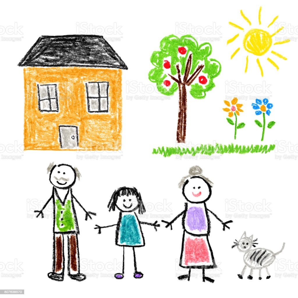 Children's Style Drawing - Girl with Grandparents vector art illustration