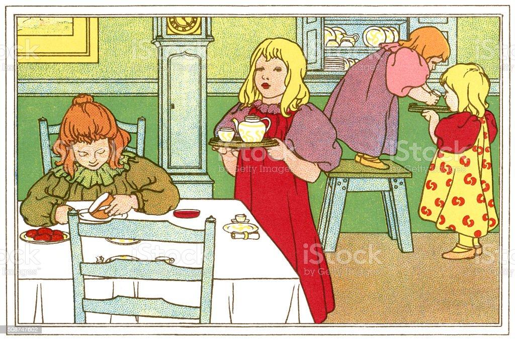 Children's tea time vector art illustration