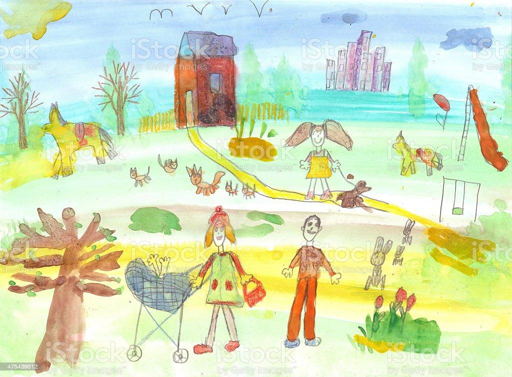 Children's acquerello street illustrazione royalty-free